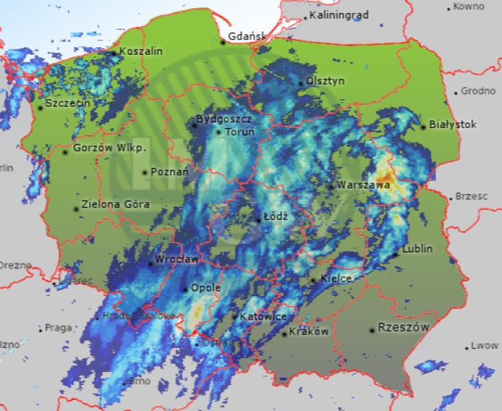 Radar opadów, godz. 10:40 (IMGW)
