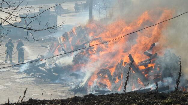 Pożar przy cmentarzu cholerycznym. W akcji przeszkadzał wiatr