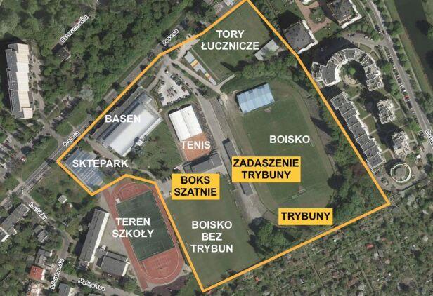 Widok na stadion na Marymoncie Google Maps, oprac. Miasto Jest Nasze