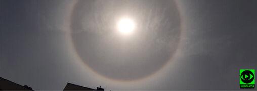Świetlisty krąg wokół słońca. Halo pojawiło się nad Polską