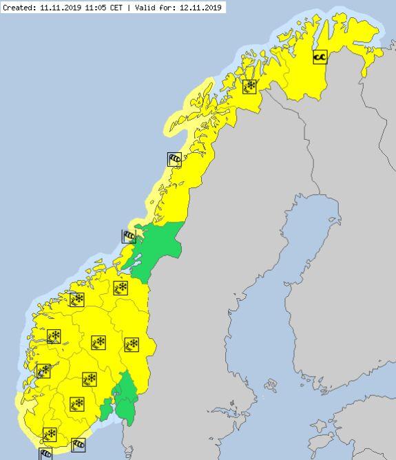 Ostrzeżenia meteorologiczne na 12.11 w Norwegii (meteoalarm.eu)