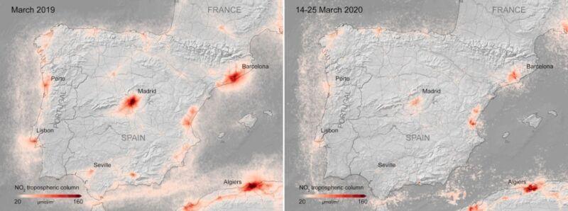 Zdjęcia satelitarne jakości powietrza nad Madrytem z marca 2019 roku i z okresu 14-25 marca 2020 roku (ESA)