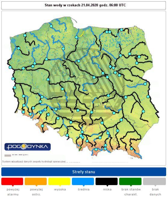 Stan rzek w Polsce we wtorek o godz. 6 (IMGW)