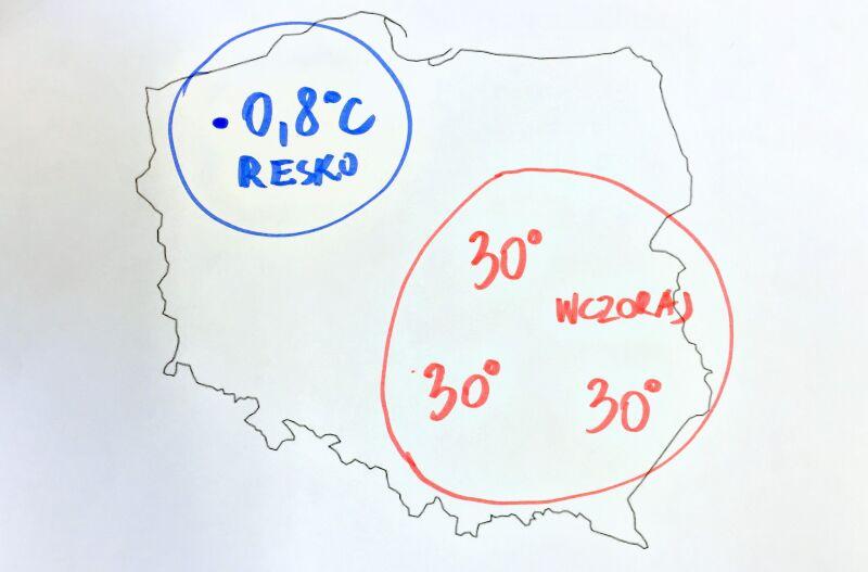 Różnica wartości temperatury w Polsce