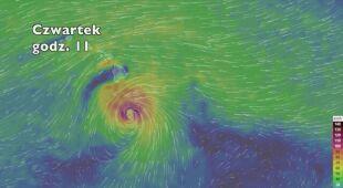 Tor ruchu i prędkość porywów wiatru huraganu Lane